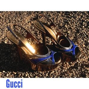 Gucci metallic platform stiletto